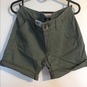 AEO Army green roll up shorts